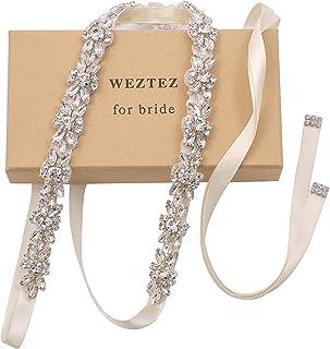 WEZTEZ حزام زفاف كريستال رقيق حزام الزفاف إشبينة العروس مع أحجار الراين اللؤلؤ للنساء اكسسوارات اللباس