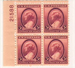 USA 1936 Susan B Anthony Plate Block of 4 Postage Stamps, Catalog No 784