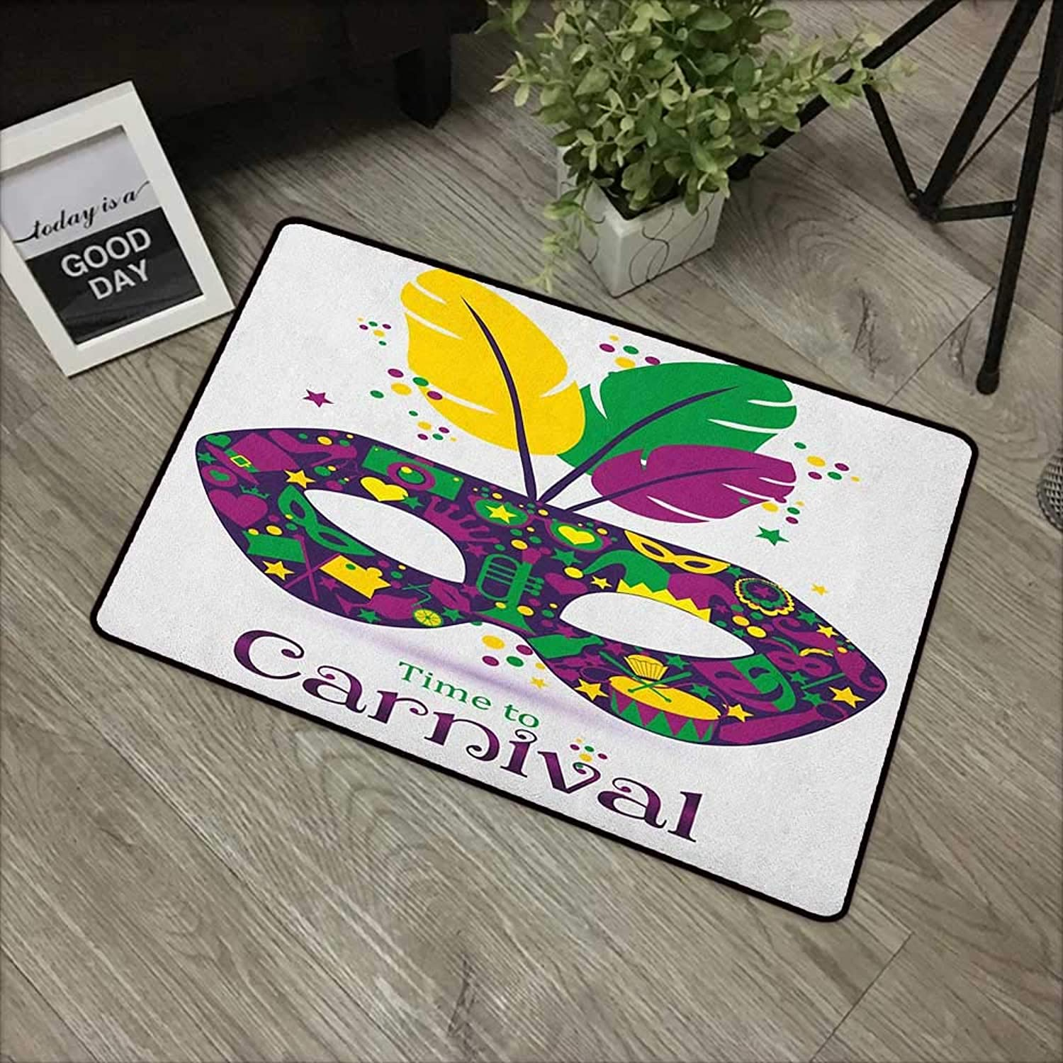 Clear Printed Pattern Door mat W35 x L59 INCH Mardi Gras,Time to Carnival Themed Design Mask with Carnival Icons and Feathers, Magenta Green Yellow Non-Slip Door Mat Carpet