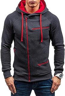 VANVENE Men's Casual Zip Hoodies Long Sleeve Tops Cardigan Hooded Sweatshirt Jumper Jacket M-3XL