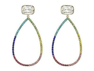 Nina Large Open Teardrop Pave Earrings (Gold/Rainbow Crystal) Earring