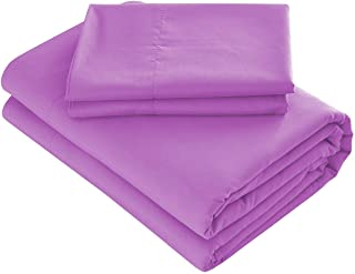 Prime Bedding Bed Sheets - 3 Piece Twin Sheets, Deep Pocket Fitted Sheet, Flat Sheet, Pillow Case - Lilac