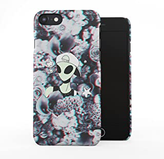 Swagy Alien Trippy Wildflowers Roses Pattern Tumblr Plastic Phone Snap On Back Case Cover Shell Compatible with iPhone 7 & iPhone 8