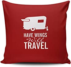 Red and White Have Wings Will Travel Shasta Camper Trailerpean Cotton Throw Pillow Covers, Decorative Cushion Covers,Square Pillowcases for Sofa Bedroom Car Chair 18x18 Inch