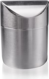 LoveInUSA Fashion Mini Brushed Stainless Steel Wave Cover Counter Top Trash Can ,Recycling Trash Can
