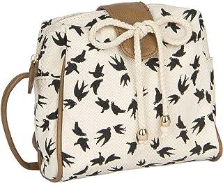 SIX Damen Handtasche, Mini Bag zum umhängen in beige mit schwarzen Vögeln, verdeckter Druckknopf, braune Henkel, Schleife ...