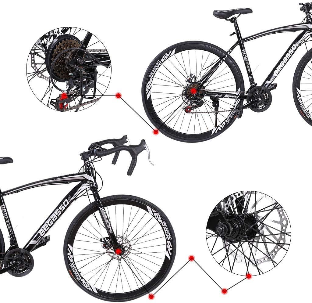 21 Speed Disc Brakes Road Bicycles US Stock 700c Wheels Mountain Road Bike Begasso Simanos Aluminum Frame Full Suspension LODDD Lightweight Aluminum Road Bike