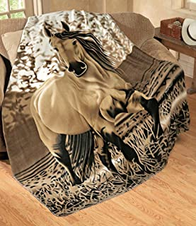 Mimosa Express Country Charming Galloping Horse Soft Fleece Throw Size 63x73 Inches
