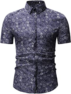 2019 Newest Men's New Pattern Casual Fashion Printing Lapel Camouflage Short Sleeve Shirt for Young
