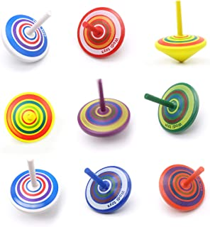 Colorful Painted Wood Spinning Tops, Kids Novelty Wooden Gyroscopes Toy, Assorted Standard Tops, Flip Tops, kindergarten e...
