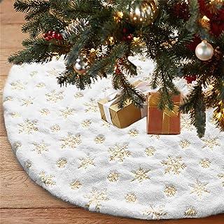 LOMOHOO Christmas Tree Skirt Large White&Gold Luxury Faux Fur with Snowflakes Tree Skirt Christmas Decorations Plush Tree ...