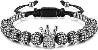MAGIC FISH Imperial Crown King Mens Bracelet Pave CZ ,Gold Bracelets for Men Luxury Charm Fashion Cuff Bangle Crown Birthd...