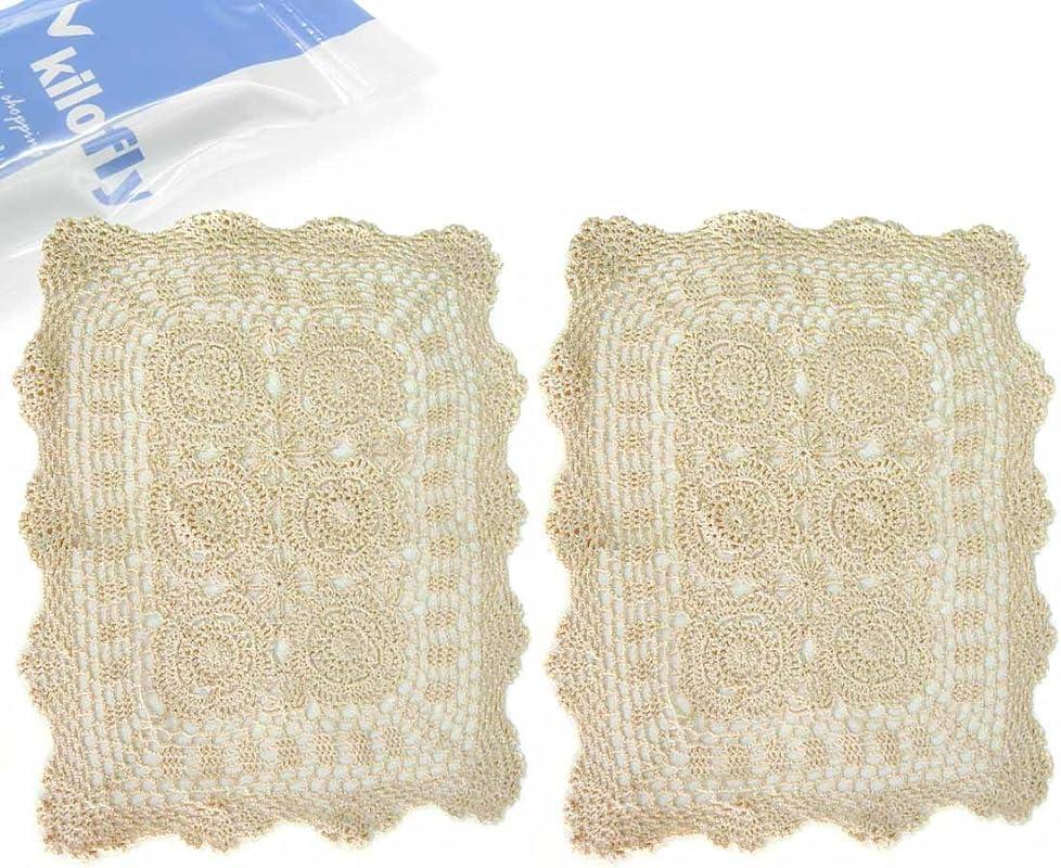Kilofly Handmade Crochet Cotton Lace Table Placemats Set Of 2 Beige