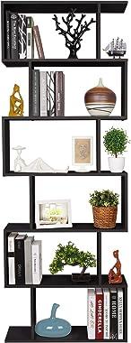 Homfa Bookshelf 6-Tier Bookcase S Shaped Bookshelf, Free Standing Display Storage Shelves Decor Furniture for Living Room Hom