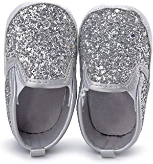 Baby Boy Girls Sequin Crib Shoes Toddler Soft Sole Anti-Slip Outdoor Sneakers 0-18 Months
