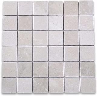 Crema Marfil Spanish Marble Square Mosaic Tile 2 x 2 Tumbled