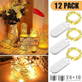 BACKTURE Luz de Botella [20 Pack], Guirnaldas Luminosas Botellas de Vino Luces, 2M 20 LED Bombillas Decoración de Luces para Boda, DIY Fiesta, Adornos de Navidad - Blanco Cálido (12 pack)