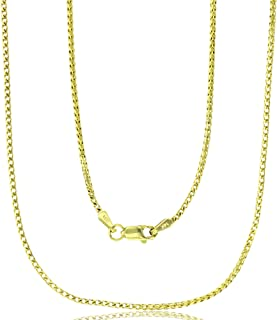 14K Yellow or White Gold Solid 1mm-5mm Franco Chain Necklaces for Men and Women with Lobster Claw Clasp | Italian Gold Chains | Gold Franco Necklaces for Men and Women