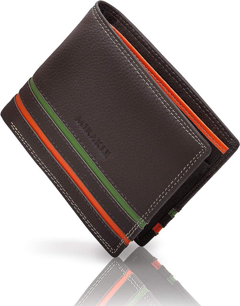 mirakle, portafoglio da uomo in vera pelle, con protezione rfid, porta carte di credito