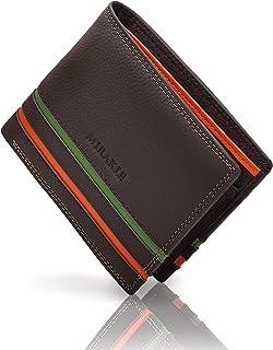 Mirakle Portafoglio Uomo Slim Vera Pelle Blocco RFID, Bifold Portafogli Piccolo Sottile con Tasca Portamonete, Porta Carte...
