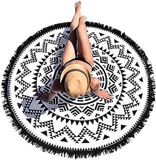 Lutents タッセル付き ラウンドビーチマット サークルマット ビーチマット 円形 丸い ボヘミアン プールパーティー ビキニ 海辺 旅行用シート おしゃれ 可愛い 直径150cm