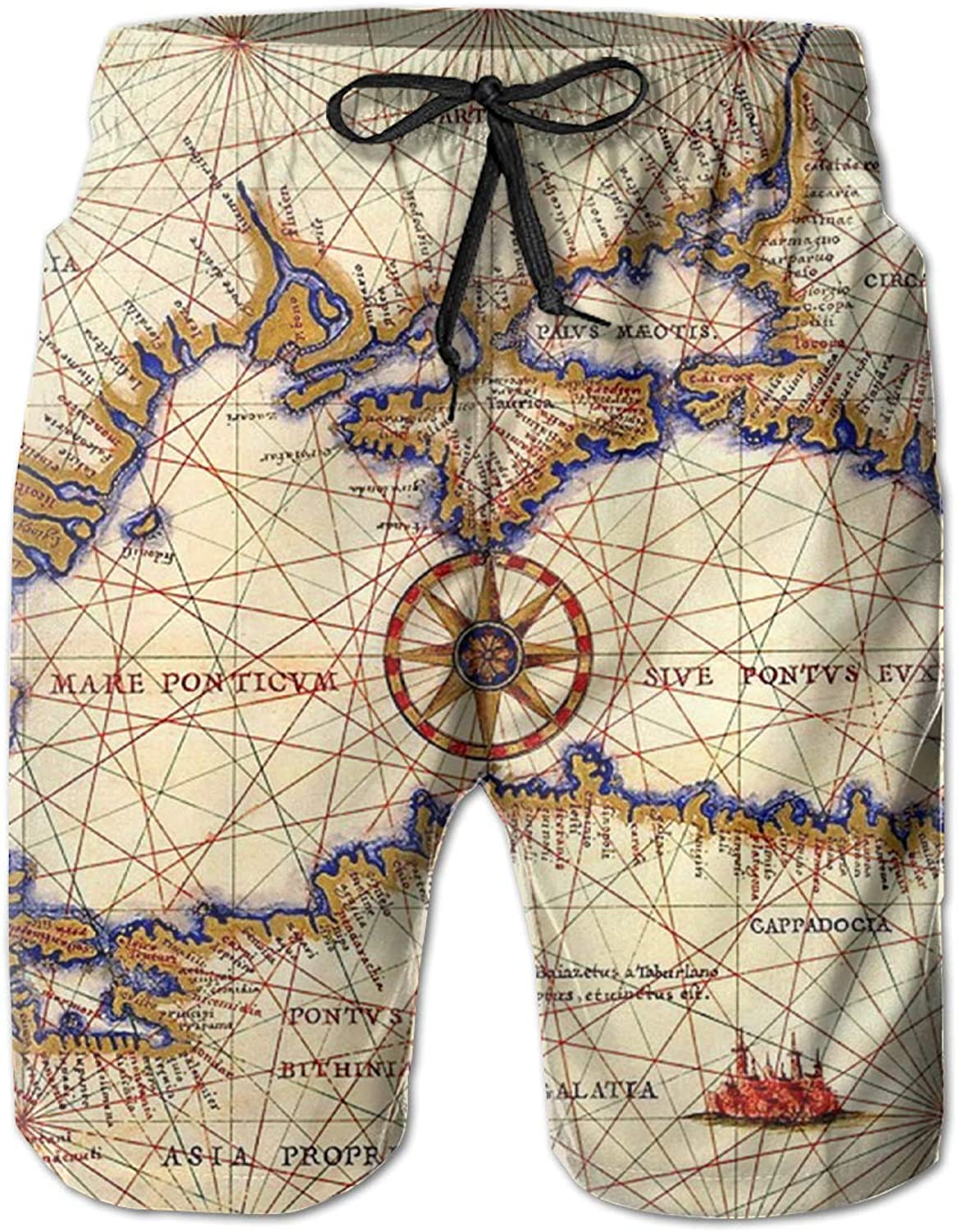 5594afa8923cf ROLLING HOP Men's Cool Swim Trunks Intricate Map Beach Board Board Board  Shorts for Outside Home with Pockets 7d2593