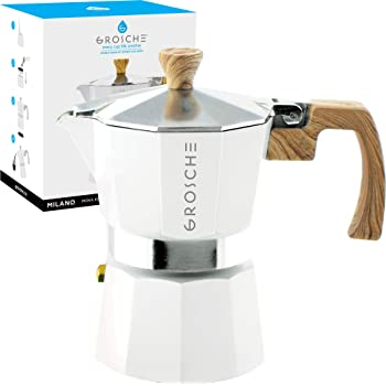 GROSCHE Milano Stovetop Espresso Maker Moka pot 3 espresso Cup - 5 oz, White - Cuban Coffee Maker Stove top coffee maker Moka Italian espresso greca coffee maker brewer percolator