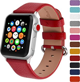 Fullmosa Watchband Compatible for Apple Leather Watch Band 38mm 40mm 42mm 44mm Stainless Steel Silver Buckle Women Men, Replacement Wristbands Strap for iWatch Series 5/4/3/2/1, Edition, Sport Straps