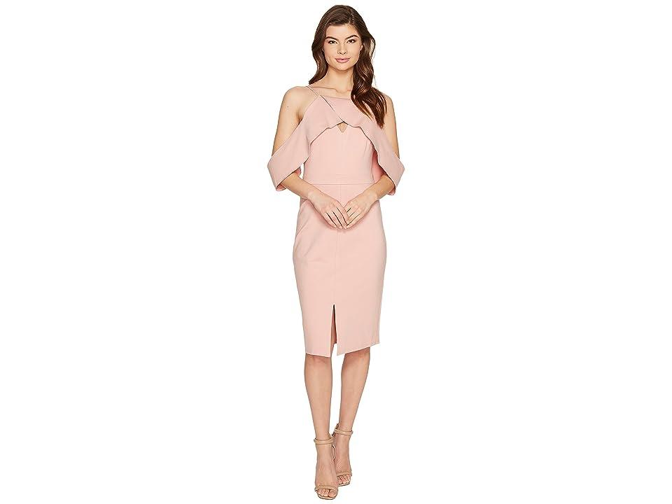 Adelyn Rae Alessandra Knit Ponte Cold Shoulder Dress (Nude Pink) Women