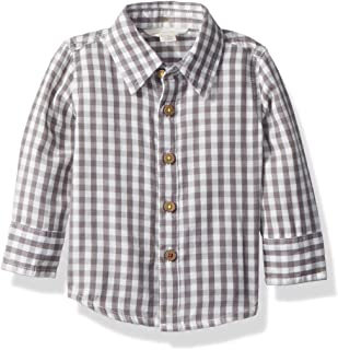 Baby Boy's T-Shirt, Long Sleeve V-Neck and Crewneck Tees, 100% Organic Cotton, Slate Gingham Button-Up, 3-6 Months