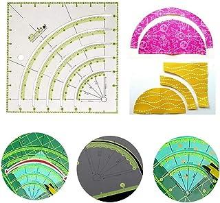 Regla de cortador de círculo de edredón de arcos y ventiladores, plantilla de corte giratorio de círculo de tela antideslizante de simplicidad multifuncional, para acolchado, costura y manualidades