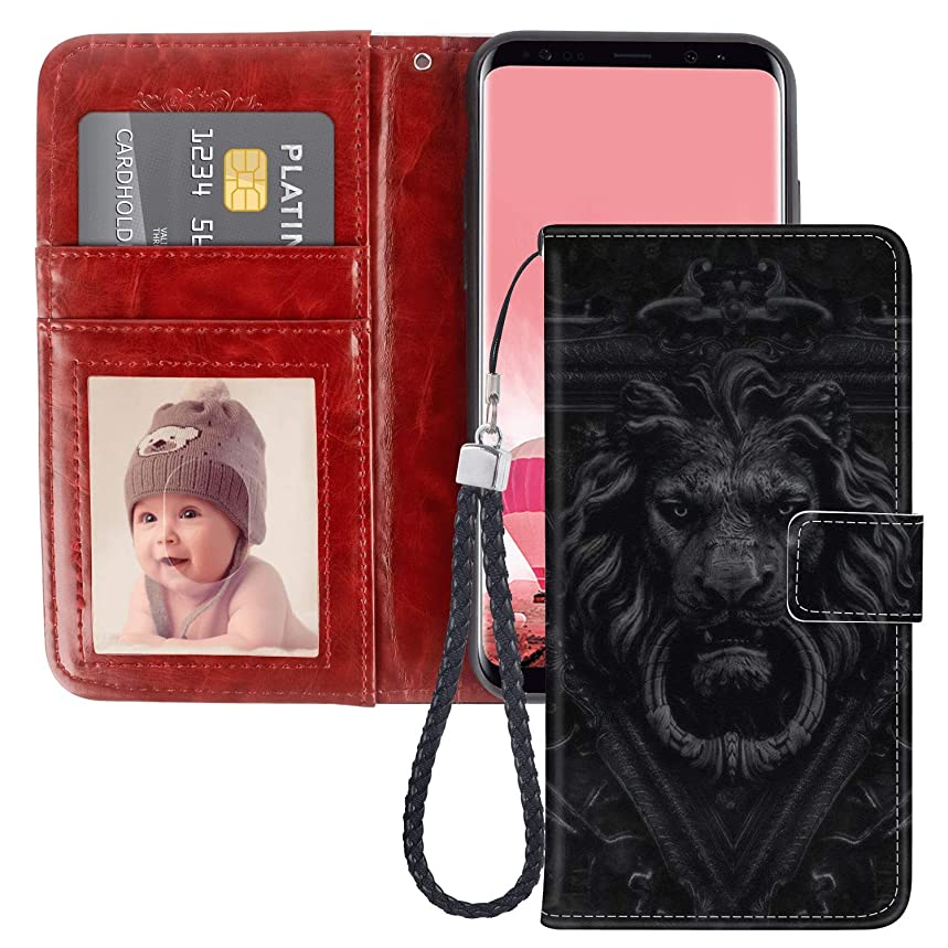 SITUOLI Lion Door Handle Samsung Galaxy S6 Edge Wallet Case Wrist Strap Standable Kickstand PU Leather Card Holder Phone Case for Samsung Galaxy S6 Edge