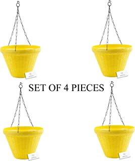 Unique Plastic Hanging Pot with Metal Chain (Yellow, Pack of 4)