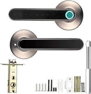 デジタルドアロック 指紋解錠 パスワード解錠 Bluetooth APP解錠 防犯グッズ USB充電 厚さ35〜55mmドアに(ブラック)