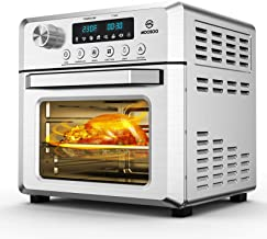 MOOSOO 18L Air Fryer Oven for Large Family, 8-in-1 Combo Convection Roaster with LED Display, 1500W & Large Glass Window A...