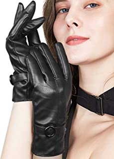 BOTINDO Leather Gloves Winter for Women, Touchscreen Texting Warm Lining Driving Gloves with Button Decoration