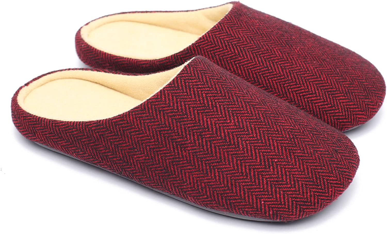 Ofoot Mens & Womens Cotton Fabric Terry Lining Memory Foam Slip On House Slippers(7-8 (BM) US, Claret)