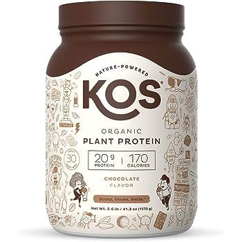 KOS Organic Plant Based Protein Powder, Chocolate - Delicious Vegan Protein Powder - Gluten Free, Dairy Free & Soy Free - 2.6 Pounds, 30 Servings