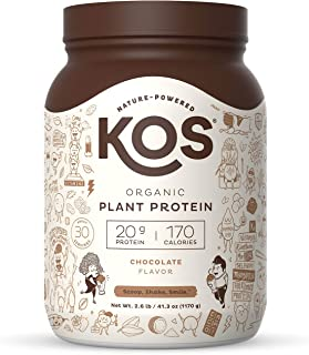 KOS Organic Plant Based Protein Powder, Chocolate - Delicious Vegan Protein Powder - Keto Friendly, Gluten Free, Dairy Fre...