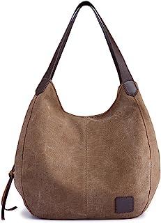 Hiigoo Fashion Women s Multi-pocket Cotton Canvas Handbags Shoulder Bags  Totes Purses 33267bc80de5b