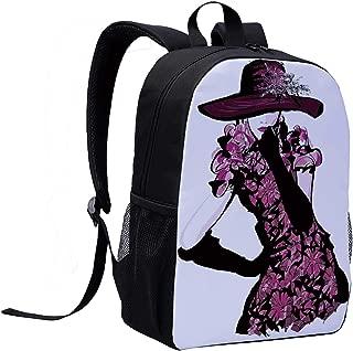 Girls Versatility Backpack,Woman Figure Furry Hat and Floral Dress Nostalgic Magazine Catwalk Look Feminine Decorative for Trips,12