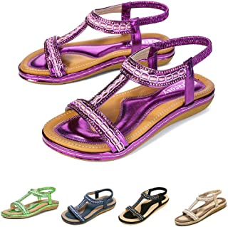 newest b1f0b 0730d gracosy Summer Flat Sandals for Women, Ladies Slip On Post Thong Shoes  Walking Sandals Casual