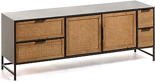 Kave Home - Mueble TV Kyoko 150 x 55 cm con cajones y Puertas de Madera Maciza de Cedro y ratán y Estructura de Metal en N...