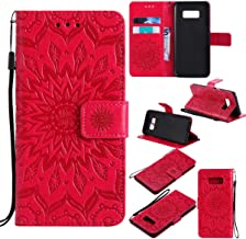 Galaxy S8 Case,Pu Leather Shock Proof Inner Bumper Cover Lightweight Kickstand Case with Magnetic Card Holder and Strap Birthday Xmas Gift for Boy Girl for Samsung Galaxy S8 -Sunflower Red