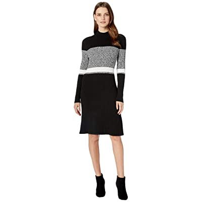 Calvin Klein Long Sleeve Sweater Dress (Black/White Multi) Women
