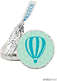 Andaz Press Chocolate Drop Labels Stickers Single, Baby Shower, Neutral Hot Air Balloon, 216-Pack, for Hershey's Kisses Party Favors, Gifts, Decorations, Birthday