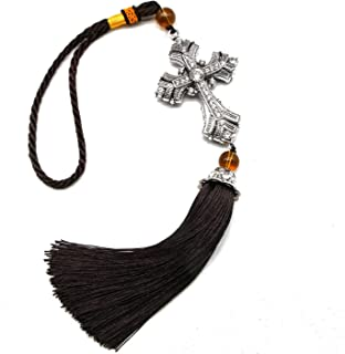 JETEHO Crystal Cross Jesus Christian Car Rear View Mirror Car Pendant Hanging with Tassel Lucky Safety Hanging Ornament Gift