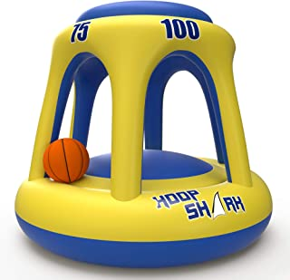 Swimming Pool Basketball Hoop Set by Hoop Shark - Yellow/Blue 2020 Edition - Inflatable Hoop with Ball Included - Perfect for Competitive Water Play and Trick Shots - Ultimate Summer Toy