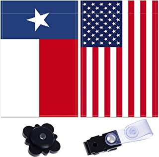 BP&Q American Garden Flag – Set of 2 United States of America and Texas Yard Flags – Two-Sided USA Flag – Premium Quality Material – Includes Garden Flag Stopper and Anti-Wind Clip