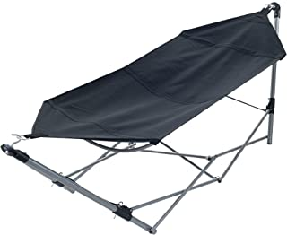 Pure Garden Portable Hammock with Stand-Folds and Fits into Included Carry Bag for Easy Travel-Perfect for Backyard, Pool, Beach, Hiking Black